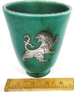 "Gustavsberg Argenta Stoneware Pottery Vase or Goblet Designed by Wilhelm Kage with Silver Griffin on Jade Green Base. Measures approximately 5"" tall"