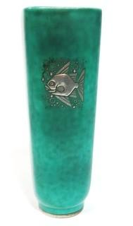 "Gustavsberg Argenta Stoneware Pottery Vase Designed by Wilhelm Kage with Silver Fish on Jade Green Base. Measures approximately 7"" tall."