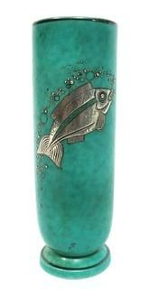 """Gustavsberg Argenta Stoneware Pottery Vase Designed by Wilhelm Kage with Silver Fish on Jade Green Base. Measures approximately 7"""" tall"""