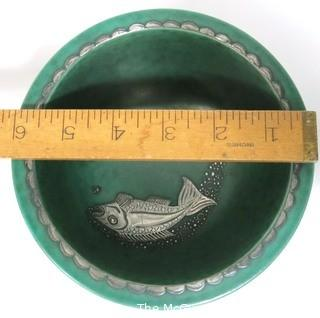 "Gustavsberg Argenta Stoneware Pottery Bowl Designed by Wilhelm Kage with Silver Fish on Jade Green Base. Measures approximately 6"" in diameter."