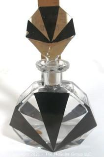 Karel Palda Bohemian Czech Art Deco Clear Cut Glass With Black Accents Decanter or Perfume Bottle with Dobber..