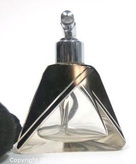 Karel Palda Bohemian Czech Art Deco Clear Cut Glass With Black Accents Decanter or Perfume Bottle with Atomizer.