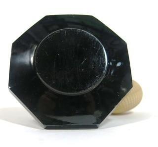 Czech Art Deco Black Cut Glass Perfume Bottle with Atomizer.