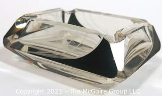 Karel Palda Bohemian Czech Art Deco Clear Cut Glass With Black Accents Ashtray.  Some small Flea Bite chips.