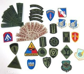 Group of Vintage Military Insignia and Uniform Patches.
