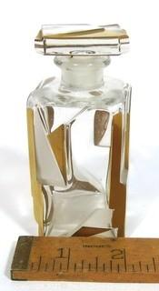 Bohemian Czech Art Deco Clear Cut Glass With Gold Gilt Accents Decanter or Perfume Bottle with Dobber.