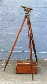 Antique Surveyors Brass Transit Instrument Made by Buff & Buff(Boston) in Original Box with Wooden Tripod.