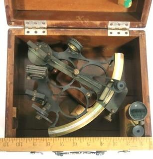 Antique Dutch Sextant Nautical Instrument Made by Kon Ned of Amsterdam (Royal Netherlands Meteorological Institute) in Wood Case with Lens.