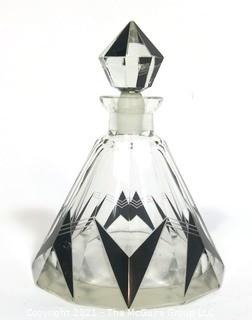 Karel Palda Bohemian Czech Art Deco Clear Cut Glass With Black Accents Decanter or Perfume Bottle with Dobber.