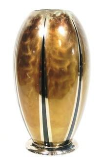 "Art Deco German WMF Ikora Bauhaus Metal Vase with Black Enamel Inlaid Stripes. Measures approximately 10"" tall.  Some wear to enamel"