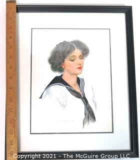 """Framed Under Glass Lithograph of Woman by C. Coles Phillips.  Measures approximately 16"""" x 13""""."""