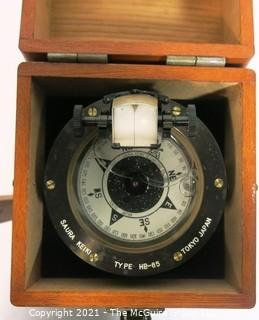 Antique Hand Bearing Compass in Wood Case Made in Tokyo Japan.