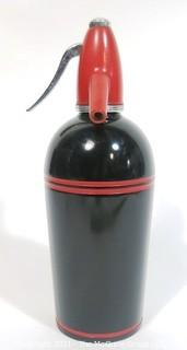Vintage Art Deco Black & Red Enamel Painted Soda Siphon Made by Sparklets.