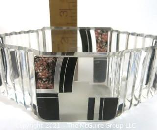 Karel Palda Bohemian Czech Art Deco Clear Cut Glass With Black & Gold Accents Vanity Dish or Bowl.