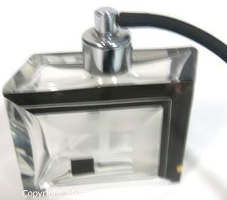Karel Palda Bohemian Czech Art Deco Clear Cut Glass With Black Accents Perfume Bottle with Atomizer.