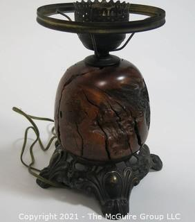 Vintage Turned Burl Wood Table Lamp. Missing Shade