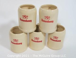 Set of Five Vintage Kronenbourg Ceramic Beer Mugs Made in Belgium