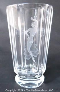 "Etched Heavy Crystal Vase with Ornate Design of Dancing Woman Etched in Side. Measures approximately 10"" tall."