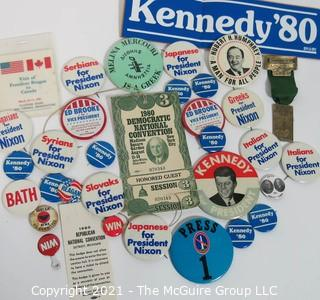 Collection of Authentic Political Buttons, Bumper Stickers and Convention Passes.