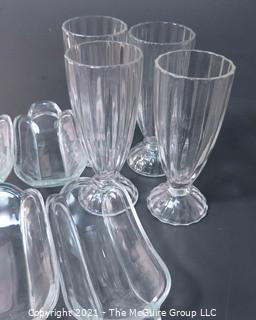 Set of Eight Vintage Heavy Glass Milk Shake and Ice Cream Sundae Serving Bowls and Tumblers.