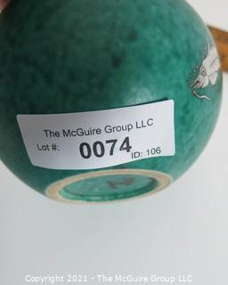 """Gustavsberg Argenta Stoneware Pottery Round Vase Designed by Wilhelm Kage with Silver Fish on Jade Green Base. Measures approximately 5""""T x 5 1/2""""W"""