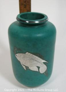 "Gustavsberg Argenta Stoneware Pottery Vase Designed by Wilhelm Kage with Silver Fish on Jade Green Base. Measures approximately 8 1/2"" tall."
