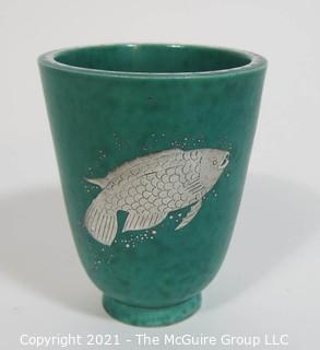 "Gustavsberg Argenta Stoneware Pottery Vase or Cup Designed by Wilhelm Kage with Silver Fish on Jade Green Base. Measures approximately 5"" tall"