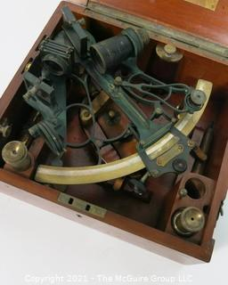 """Antique """"Bell"""" Pattern Mark III Sextant Nautical Instrument in Wood Case with Lens and Brass Plaque Inscribed C H Rowley. Sextant Marked """"Hezzanith"""" Endless Tangent Screw Automatic Clamp"""