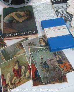 "Clifford Evans produced a documentary film on the artist Moses Soyer, named ""Paintings in a Low Voice"", 1970.  This lot features the film and his notes, plus an exhibition flyer from the ACA Gallery, 63 East 57th St, NY, NY and hard cover book.<br> <br>"