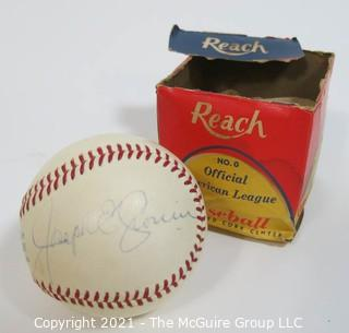 """Joe Cronin"" Autographed Official American League Baseball with original box (incomplete)"