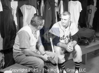 Baseball History: Lot includes 13 individual 35mm B&W negatives of Clifford Evans with several major league players including: H. Aaron, S. Musial, T. Kluszewski, F. Robinson, Bobby Bragan; Harvey Kuenn, Bobby Schantz; Fred Hutchinson; Brooks Lawrence and Al Cicotte. Also promotional flyer for Clifford Evans interviews with baseball players and a 1984 Baseball ID card.