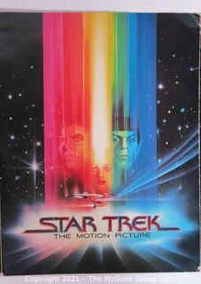 """Vintage Tri Fold Movie Program From Theatrical Premier of """"STAR TREK the Motion Picture"""" 1979 Staring William Shatner and Leonard Nimoy that Took Place at the Air & Space Museum in Washington DC."""