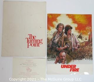 "Promotional Tickets & Program from Kennedy Center Theatrical Premier of ""The Turning Point"" Movie Starring Shirley MacLaine, Anne Bancroft and Mikhail Baryshnikov; and ""Under Fire"", starring Nick Nolte, Gene Hackman and Ed Harris."
