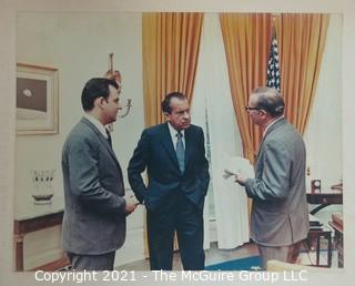 Ephemera: Photo: Political: color copy of Clifford Evans visit with Richard Nixon and Ron Zeigler, his press secretary
