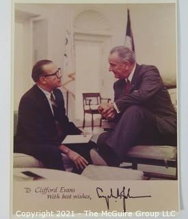 Ephemera: Political: White House Photo with note from LBJ to Clifford Evans