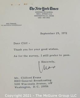 As head of RKO Broadcasting, Washington DC, Clifford Evans sent out a personal survey to many of his print and broadcast colleagues soliciting their views of the key issues in the 1972 Presidential Election.  Includes responses from many known personalities of the day.