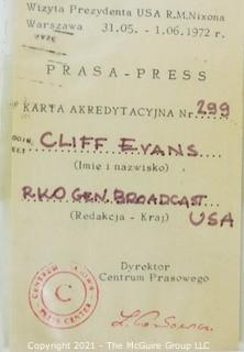 Clifford Evans press credentials for various overseas trips