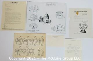 Original Political Cartoons and Correspondence to Clifford Evans, from Gary Trudeau (Doonesbury) Among Others