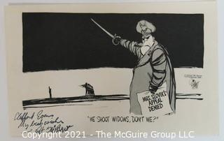 "Political Cartoon by Pat Oliphant Featuring the Execution of Eddie Slovik .  Signed by artist and dedicated to Clifford Evans.  Measures approximately 5.5"" x 8.5"" and dated 8-17-77."