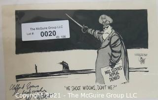 """Political Cartoon by Pat Oliphant Featuring the Execution of Eddie Slovik .  Signed by artist and dedicated to Clifford Evans.  Measures approximately 5.5"""" x 8.5"""" and dated 8-17-77."""
