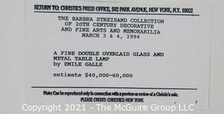 Christie's Press Packet produced for the 1994 Barbra Streisand Auction