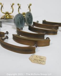 Group of Vintage Furniture Hardware Including Drawer Pulls, Shelf Brackets and Hooks.