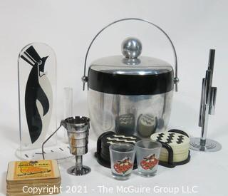 Collection of bar supplies: Ice Bucket; glasses; jigger; coasters; etc