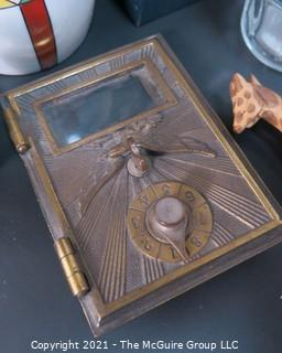 Eclectic Lot: Czech Pottery Jar Marked Celebrate (missing Lid), Hermes Travel Kit, Suspenders, Inert Artillery Fuse, Salad Forks, Brass Mailbox Door,  etc