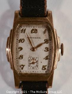 "Swiss Made ""Wittnauer"" Automatic Men's Wristwatch with leather band (untested)"