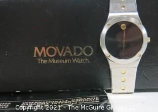 "Vintage Movado ""The Museum Watch"" 84-42-876 in Box with Certificate (untested)"