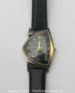 """Hamilton electric """"Ventura"""" watch, gold-toned w/leather strap (untested) re-photo"""