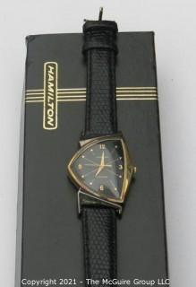 "Hamilton electric ""Ventura"" watch, gold-toned w/leather strap (untested) re-photo"