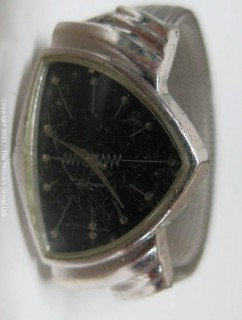 "Hamilton ""Ventura"" watch, black face, missing crown, mesh watch band Italy (untested)"