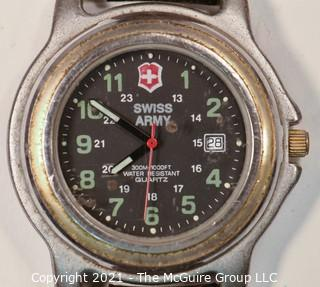 Vintage Swiss Army Watch Day Date BLACK DIAL Water Resistant 1000 Ft 300 M (untested)